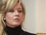 Four blonde CFNM femdom sluts tug cock