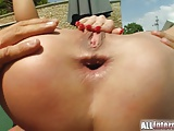 Super fit body gets ass slammed with sperm exploding