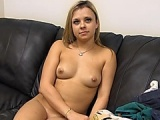 Blonde girl happy after an orgasm
