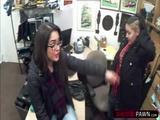 Brunette lesbian thieves gets caught and one fucked by Shawn
