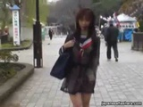 Cute Asian Girl Walks Around Town In Her See Through Uniform