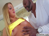 Beautiful Candice guides Lexs big black cock up her ass
