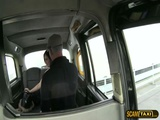 Horny brunette Euro chick bounces on a big cock cab driver