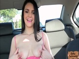 Public sex action in a car with a horny Brunette