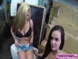 Lesbians is on their knees sucking cock