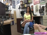 Brunette sexy teen tries hairy cock