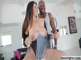 Cute babe Alison Tyler gives a lusty oral act to a black cock