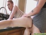 Abi feels her stepbros boner rubbing on her ass