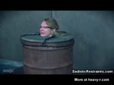 Painful Face Whipping Barrel Girl - Restraint Videos