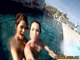 Les teen eaten by pool