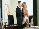 Busty blonde Corinna makes boss cum