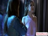 Teen Kristen worships her moms big tits
