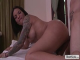 Curvy shemale Foxxy humps her dick to her lover guy ass