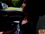 Sexy hitchhiker Tiffany Nunez fucks a stranger in the car