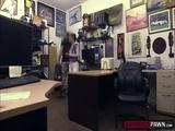 Naughty pawnman fucks ebony pussy in his office for money