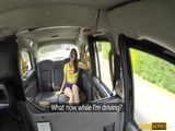 Charming Liz Rainbow gives a sloppy blowjob in the backseat