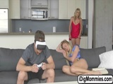 Threesome act with MILF and teen lovers