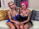 Sexy Double Blow Job With Alix And Anna Bell With A Big