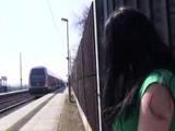German Skinny Brunette Teen Masturbating At The Teach