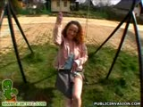 Naughty chick giving some good head on a playground