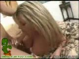 Busty blonde mommy Kristal fucked hard on her leopard bed