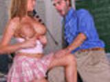 Nicole Heiress seduces her teacher with her big juggs